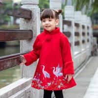 女童旗袍冬过年喜庆宝宝拜年服中国风加厚周岁礼服女冬季婴儿唐装 红色