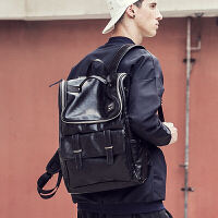 背包双肩包男时尚潮流电脑包休闲学生韩版旅行包潮 黑色