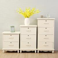 实木白色收纳柜 抽屉式床头斗柜储物柜带锁 整装多层整理柜子 (偏黄色)