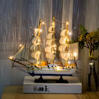 创意一帆风顺帆船摆件装饰品家居房间小摆设酒柜客厅柜工艺船模型 40CM 旅行者号(航海旅行者)