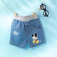 迪士尼Disney童装 男童短裤萌趣米奇牛仔裤2020年夏季新品男孩五分裤迪斯尼宝宝裤子