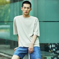 【1件2.5折到手价:117.3】MECITY男装夏季纯色休闲潮流毛衣短袖男两件套短袖男
