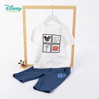迪士尼Disney童装 男童套装圆领肩开薄款短袖T恤七分裤2020年夏季新品儿童两件套