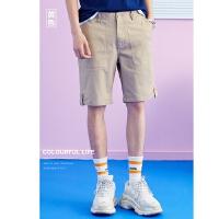 美特斯邦威旗下 4M梭织短裤男夏季新款男潮流时尚字母飘带休闲中裤男士五分裤