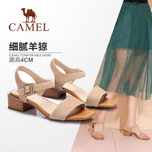 骆驼女鞋 2018夏季新款 简约中跟鞋舒适方跟鞋韩版通勤凉鞋女