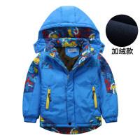 儿童外套7加厚童装8男童秋冬冲锋衣9加绒防风上衣12岁户外运动服