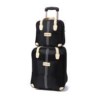 韩版手提拉杆包旅行包男女拉杆袋大容量行李包叠防水学生旅行袋 黑色 整套(子母包) 大