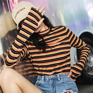 七格格长款t恤女秋装2018新款韩版学生长袖bf条纹chic港味上衣嘻哈ins潮