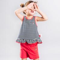 【3件3折:98.7元】暇步士童装夏装新款女童条纹背心中小童短裤儿童时尚套装