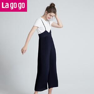 【清仓3折价137.7】Lagogo/拉谷谷2019年夏季新款时尚个性气质女吊带裤子HAKK534M33