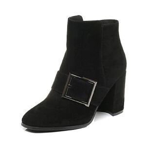 Belle/百丽2017冬时尚羊绒皮女短靴73784DD7