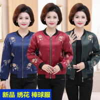 中老年女装春装新品短款外套40-50岁中年妈妈绣花夹克衫上衣女