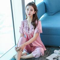 男士家居服秋冬季可外穿情侣睡衣女士丝绸韩版套装