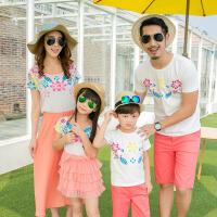 亲子装夏装新款潮全家装套装母子母女连衣裙一家三口男童春装