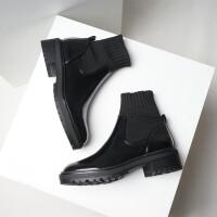 欧美2018新款圆头拼接弹力布袜靴厚底平底粗跟黑色马丁靴短靴女潮SN5057