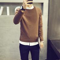春秋薄款长袖针织衫男韩版修身纯色青年毛衣男打底衫青年线衫