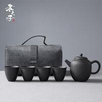 户外家用泡茶壶茶杯整套 粗陶便携旅行功夫茶具套装快客杯一壶四杯