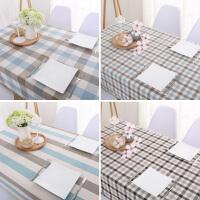 现代简约格子餐桌布布艺棉麻桌布茶几长方形书桌台布