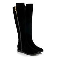秋冬款高筒靴圆头中跟侧拉链金属装饰长靴仙女甜美优雅百搭保暖绒真皮 黑色