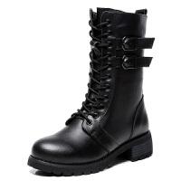 2018新款马丁靴女粗跟皮带扣中筒靴中跟英伦风短靴秋冬季加绒靴子 黑色 单里