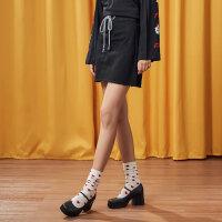 【全场2件2.5折,到手价:34.8】美特斯邦威半身裙女韩范系绳牛仔裙休闲百搭短裙潮秋装新品