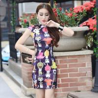 0424232203492欧洲站新款性感复古提花改良时尚卡通印花日常连衣裙 礼服旗袍