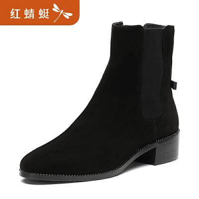 【限时1件2折 领劵再减10元】金粉世家 红蜻蜓旗下 冬季新款短靴女靴子欧美切尔西女靴