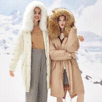 【1件2折到手价:466】美特斯邦威羽绒服女士冬装新款潮流长款简约时尚舒适羽绒派克