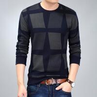 秋季长袖t恤男士毛衣加绒保暖修身圆领男士打底衫线衣休闲针织衫