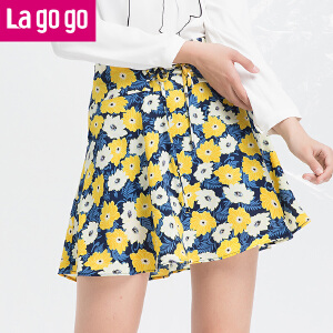 Lagogo/拉谷谷2018年春季新款时尚拉链印花半裙HABB103C41
