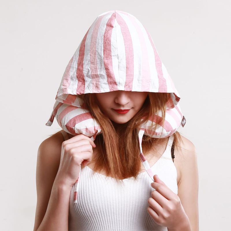 连帽乳胶u型枕 颈椎枕飞机旅行u形枕脖子乳胶颗粒枕头 粉红色 规格有歧义的商品,请联系客服咨询,以客服介绍为准!多拍错拍不发货