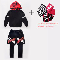 男童女童运动套装迷彩长袖卫衣嘻哈街舞两件套潮酷中大儿童 +头带