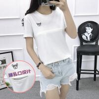 休闲外出喂奶衣服 哺乳上衣夏装2018新款印花圆领短袖T恤