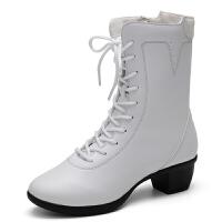 舞靴子中筒马丁靴真皮舞蹈鞋女广场舞鞋子白色跳舞鞋软底真皮女鞋 白色 单鞋不加绒