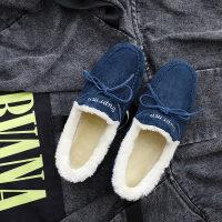 鞋子女冬新款休闲加绒保暖居家小棉鞋冬季懒人豆豆鞋女士冬鞋