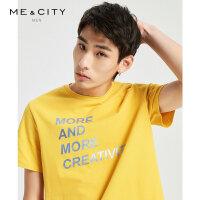 【1件4折到手价:55.6】MECITY男装夏季新款情侣款T恤男士白色休闲短袖