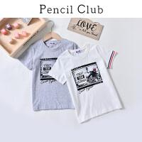 【秒杀价:21.8元】铅笔俱乐部童装2019夏季男童短袖T恤中大童T恤儿童圆领T恤休闲T恤