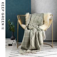 Keep Green北欧风办公室午睡毯格子纹毛毯被子加厚保暖冬季小毯子