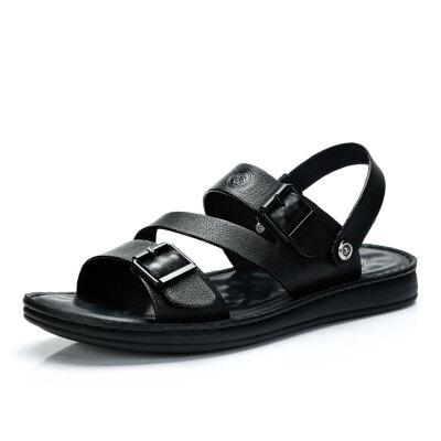 骆驼牌男鞋 夏季新品时尚真皮凉鞋男士百搭休闲透气沙滩鞋潮