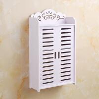 浴室置物架卫生间防水壁挂式带门无痕粘贴卫浴用品架洗漱台免打孔 百叶加长两层