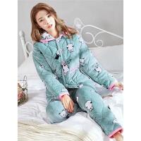 冬装睡衣女加厚大码珊瑚绒三层夹棉法兰绒保暖棉袄月子家居服套装