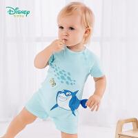 【3折价:38.1】迪士尼Disney童装 婴儿肩开连体衣亮眼撞色夏季新款纯棉爬服宝宝外着透气哈衣男192L782