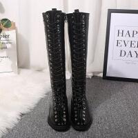 鞋子女2018新款系带长筒靴女冬马丁靴粗跟骑士靴低跟加绒保暖女靴 黑色