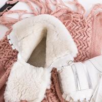 №【2019新款】冬天穿的短筒雪地靴女皮毛一�w女鞋系��平底短靴棉靴女冬