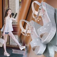 高跟鞋坡跟凉鞋女平底鞋子女学生韩版粗跟新款松糕厚底工作鞋