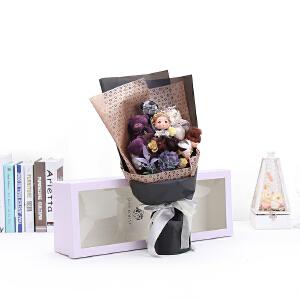 幸阁 永生花材手捧玫瑰三彩花束礼盒 母亲节情人节圣诞节生日礼物送女友创意礼品