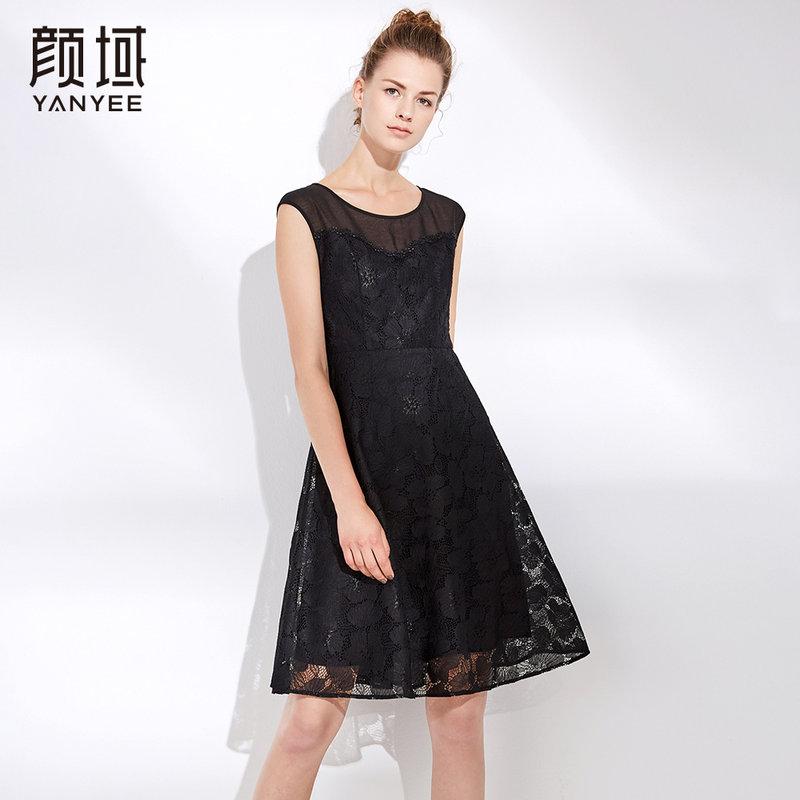 无袖蕾丝连衣裙女中长款2018夏季新款气质收腰显瘦黑色背心a字裙