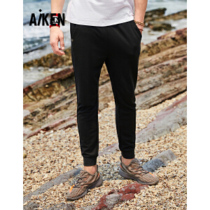 森马旗下Aiken爱肯2018夏季新款青少年男式薄街头收口个性黑色男生休闲裤 黑色