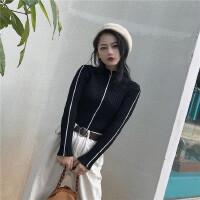 秋冬新款港味复古chic风黑白线条撞色修身显瘦套头打底针织衫 女