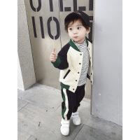 男宝宝冬装套装0一1-2-3岁韩版潮帅气男童2018新款冬加厚加绒秋